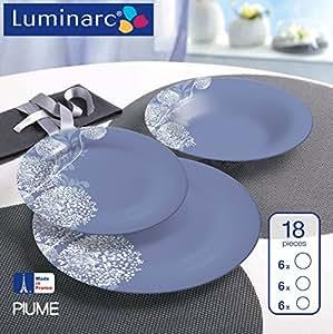Luminarc 9215306 Plume Service de Table Lot de 18 Pièces Sodo Violet 26,5 x 13 x 26 cm
