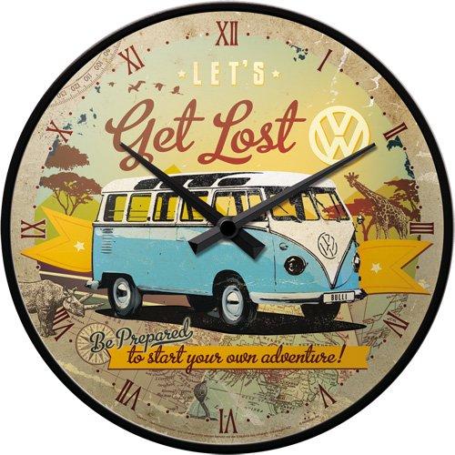 Nostalgic-Art 51058 Volkswagen - VW Bulli - Let's Get Lost, Wanduhr 31cm Vw Bus Uhr