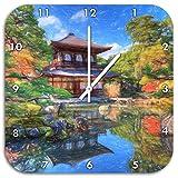 Ginkaku-ji-Tempel in Kyoto Kunst Buntstift Effekt, Wanduhr Durchmesser 48cm mit weißen spitzen Zeigern und Ziffernblatt, Dekoartikel, Designuhr, Aluverbund sehr schön für Wohnzimmer, Kinderzimmer, Arbeitszimmer