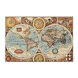 BANJADO Glas Magnettafel mit 4 Magneten   Magnetwand 90x60cm   Memoboard perfekt für die Küche   Magnetboard groß mit Motiv Historische Weltkarte