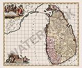 Doppelganger33 LTD Ceylon Madura Old Map Sri Lanka Huge