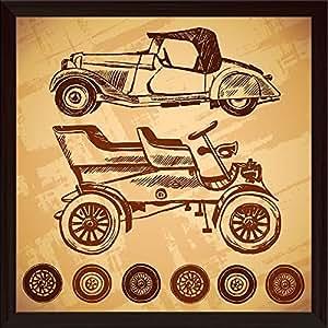 AZ Vintage Car Canvas Painting Dark Brown Wood Frame 24 x 24inch