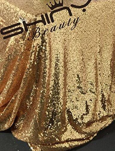 ShinyBeauty Pailletten-Stoff Gold 4 Meters für Pailletten Hochzeit Kleid/Pailletten Tischdecke/Hintergrund/Vorhang/Tischläufer DIY Nähen (Gold)