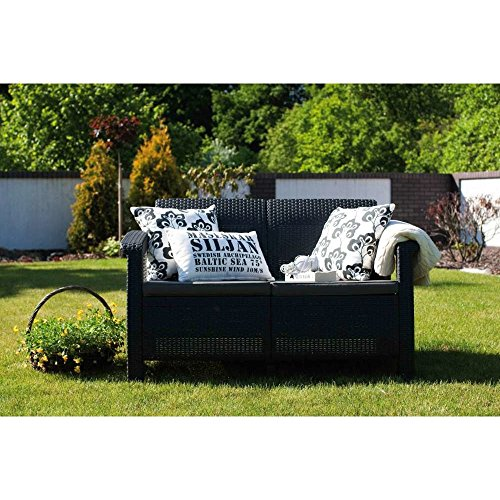 JUSTyou Corfu Sofa Couch Gartenbank Rattan 2-Sitzer Sofa Weiß Aschgrau - 2