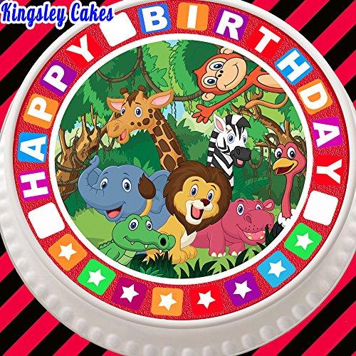 vorgeschnittenen Essbarer Zuckerguss Cake Topper, 19,1cm rund Dschungel Tiere mit Happy Birthday Bordüre
