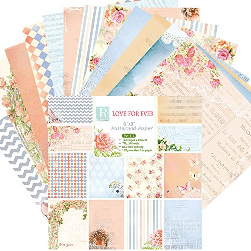 Somedays 24Blatt Scrapbooking Papier Gemustertes Karton Bastelpapier mit Vintage Design für DIY Handwerk Foto Hintergrund Deko 6 Zoll -