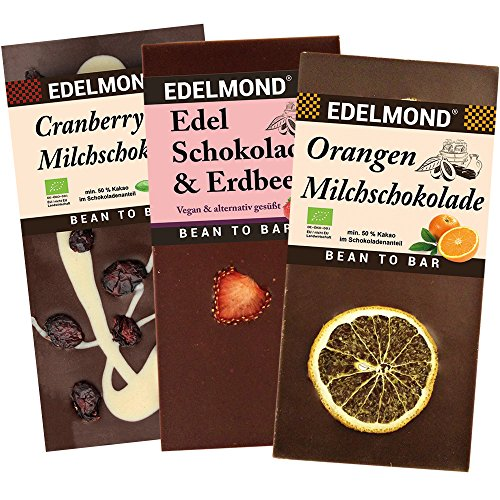 Preisvergleich Produktbild Edelmond® Bio Schokolade mit Früchten - Mini Sortiment Nur fruchtigste Schokoladen Geschenk für Obst Fans Fair-Trade Teilweise mit Xylit (Birkenzucker) 3 Tafeln
