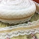 IBuyi 2.5cm x 5m Garland Natürliche Jute Sackleinen hessischen Farbbandrolle mit Spitze für Vintage-rustikale Hochzeit Dekorationen Startseite DIY Fertigkeit-Weihnachtsfest -Dekor (BRL2.5-A)