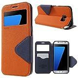 | Handyschutz in Perfektion | Ultra Slim Premium Flip Cover Tasche Schutz Hülle mit Silikon Innen Schale Original Roar Fancy Case Für Samsung Galaxy S7 Orange