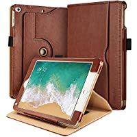 iPad 9.7 2018/ 2017 Case, EasyAcc 360 Degree Rotating and Document Card Slots Case with Multi-angle Stand Function / Auto Wake/ Sleep PU Leather Cover for iPad 2018 / 2017 9.7 inch/ iPad Air/ iPad Air 2 - Brown