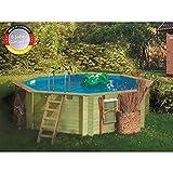 Paradies Pool GmbH Holzpool 4,00 x 1,20 m, Folie 0,6mm adriablau, Achteck Pool, Engholm Tiefbeckenleiter Edelstahl, Massivholzbohlen, Breitmaulskimmer, Premium, Komplettset, Schwimmbecken, Karibu