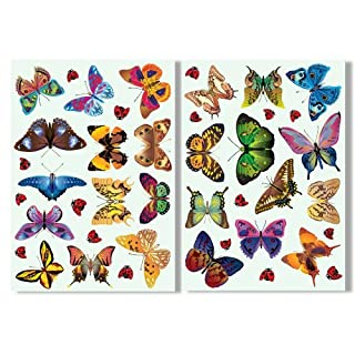 Articlings 25 Butterflies & 17 Ladybird Window Clings by Colourful Non-Adhesive Stickers – Stop Birds Flying into your Glass
