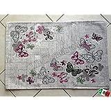 """By Suardi - Tappeto arredo Passatoia Cucina """"Farfalle"""" in ciniglia cm 55x140 Made in Italy, GRIGIO-TORTORA"""