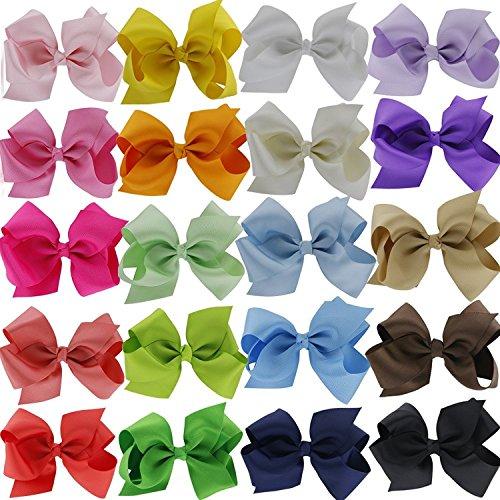 Doitsa 20 pcs Haarspangen Mehrfarbig Haarklammern Haarschmuck mit Handgemachter Schleife Deko für Mädchen/süße Haarclip für Kinder -
