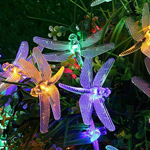 plplmy Solar Dragonfly Fairy Light, 7m50 LED Lichterkette Wasserdichter Zierzaun Fairy Light, Für Garten, Terrasse, Hof, Zuhause (DREI Farben Optional)