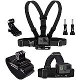 Eyeon 3 in 1 Cinturino Cintura Imbracatura Supporto per Petto + Fascia Testa + Fascia Polso con J Gancio e Vite per GoPro, Po