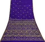 Vintage Saree Lila reine Seide gestickten Blumen Craft Sari