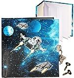 alles-meine.de GmbH Tagebuch mit Schloss -  Weltraum - Space - Raumschiff  - blanko weiß - Dickes Buch gebunden - 96 Seiten - für Geheimnisse Reisetagebuch / Notizbuch - 2 SCHL..