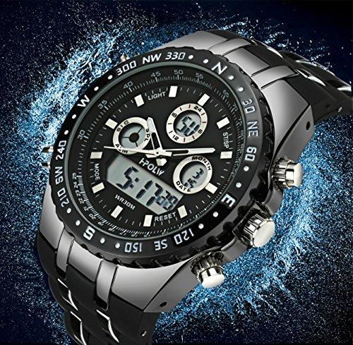 665895a43909e8 Orologio Uomo Orologi Militari Sport Impermeabile Cronografo LED ...