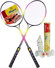 Vizorr Combo of Racer Double Shaft Multicolor Unstrung Badminton Racquet + Aerotic-005 Shuttle Cock Feather Shuttle (Fast,79,10 pcs.)