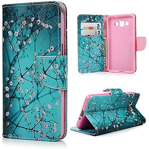 Samsung Galaxy Grand Prime Funda, Lanveni® Elegante Case de cuero PU Piel para Samsung Galaxy Grand Prime G530H G5308 Wallet Style Flip con cierre magnético y función de soporte - Patrón Flor Rosa Diseño