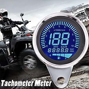 Motorrad Tacho Digitaltacho Kilometerzähler Motorrad Universal 10000RMP 12V