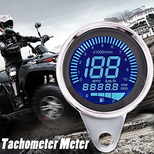 Motorrad Tacho Digitaltacho Kilometerzähler Motorrad Universal 10000RMP 12V (Ölstand Wechseln)