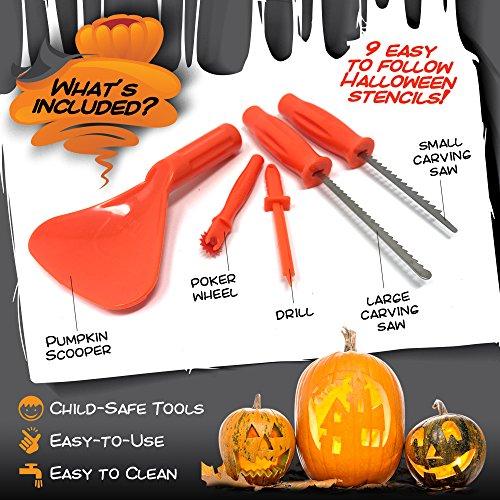 Kit Deluxe para Tallar Calabazas de Halloween – Juego Completo 9 ...