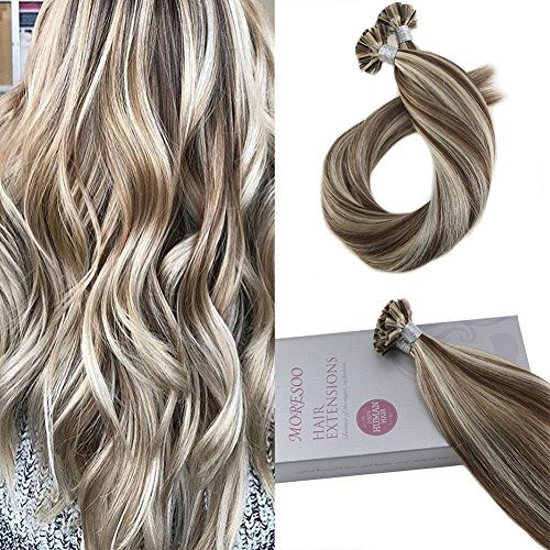 U Extensions Keratin Hair Tip (Moresoo 14 Zoll Hair Extensions Remy Menschliches Haar U Tip Hair Extensios Keratin Menschliches Haar Color #9A Brown Highlighted with #60 Blonde Tipped Human Extensions 1g/1s 50G)