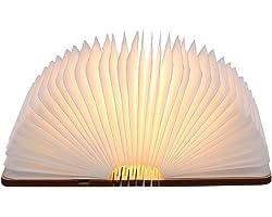 Livre lampe pliante, Tomshine 500 Lumens Lampe Led Livre Rechargeable USB Port Livre lumineux bois Blanc chaud Dimension: 12.