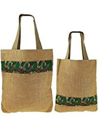 ShalinIndia - Set Of 2 Multipurpose Shopping Bags, Jute Shimmer,Natural Fiber Size Size-30 Cm X 40 Cm,Straps -...