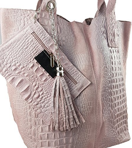 FreyFashion - Made in Italy, Borsa tote donna Rosa Kroko