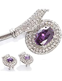 0feef5436 Designer Jewellery Set Necklace & Matching Earrings. Silver Rhodium Plated  Chain, Vibrant Amethyst &