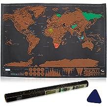 Vitutech Carte du monde Carte du monde à gratter Scratch le monde Scrape off World Map - Grattez les endroits que vous avez visité