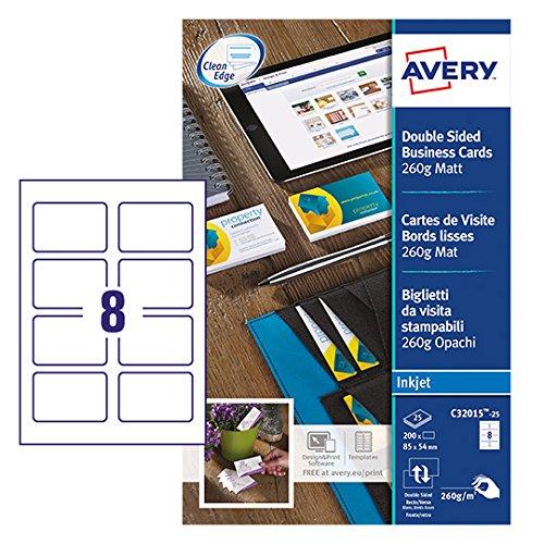 Avery italia c32015-25 biglietto da visita, 85 x 54 mm, stampabile fronte/retro, 8 biglietti per foglio, confezione da 25 pezzi, bianco