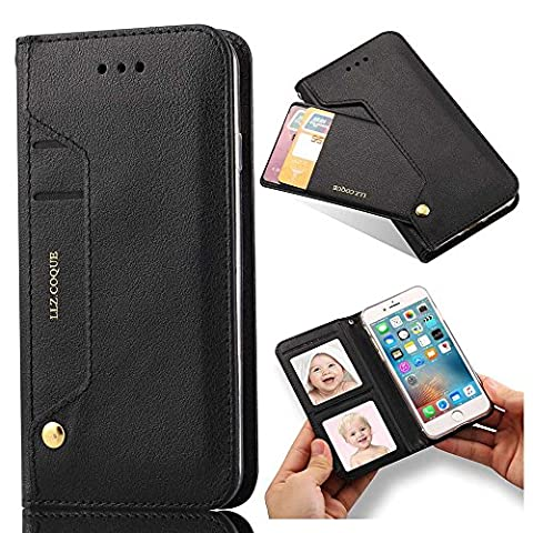 iPhone 7 Plus Case, iPhone 8 Plus Case, LLZ.COQUE Premuim PU Leather Flip Case, Rotation Function Card Slots Stand Wallet Photo Frame with Magnetic Closure Soft TPU Silicon Back Bumper Cover-Black