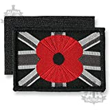 Union Jack Velcro Woven Embroidered Poppy Patch Black Small