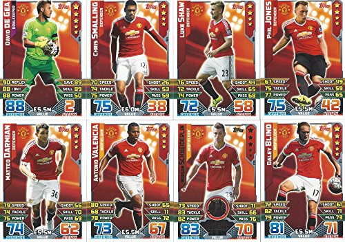 Match Attax 2015/2016 Manchester United Team Base Set Plus Star Player, Captain & Away Kit Cards 15/16 -