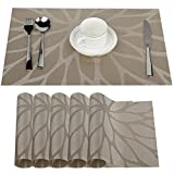 Fontic 6er Set Platzsets 30x45cm Platzdeckchen Rutschfest Abwaschbar Tischmatten aus PVC Abgrifffeste Hitzebeständig Tischsets Schmutzabweisend und Waschbare, Platz-Matten für küche Speisetisch (Khaki)