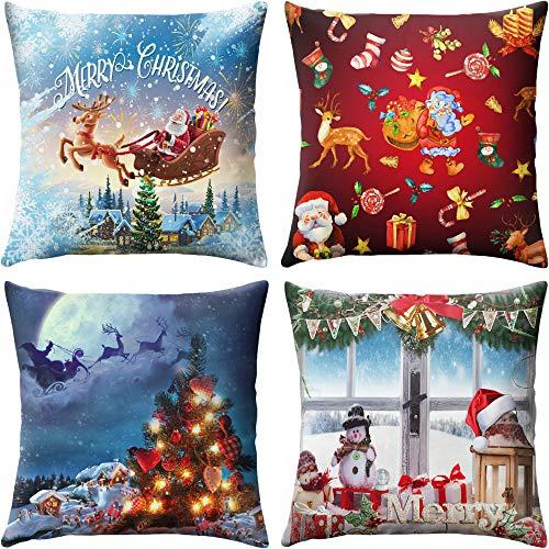 Searchi federe natale 4 pack cuscini per divani decorativo cotone biancheria cuscino copricuscini divano caso federa per cuscino 45x45 cm