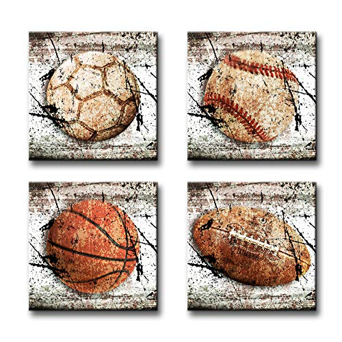 BLINFEIRU Leinwandbild, Sportmarkt, Basketball, Baseball, Vintage-Ölgemälde, Dekoration, fertig zum Aufhängen, 4 Sets 12x12inchx4 Sports Themed Group B
