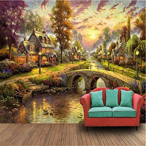 LHDLily 3D Tapete 3D Wallpaper Fresken Wandbilder Verdicken Custom Photo Wall Sticker Larges Europa Und Den Vereinigten Staaten Dorf Wald Hütte Nacht Öl Gemalt 150Cmx100Cm