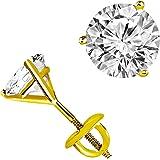 Diamante solitario orecchini in oro giallo 14K vite posteriore (D color vvs1-vvs2Clarity)