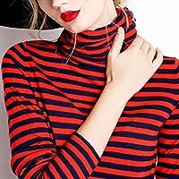 2/5000 Má Serie de Otoño E Invierno Suéter de Cuello Alto Suéter Delgado Adelgazando Suéter a Rayas Cuello Alto Interior Toma de Gran Tamaño,Rojo,XL
