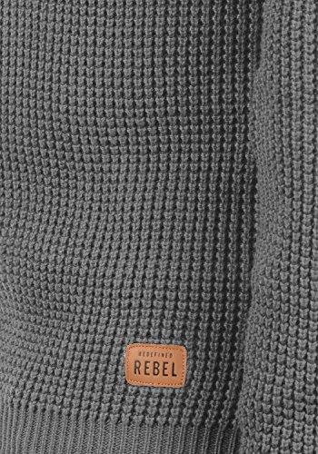 REDEFINED REBEL Maxwell Herren Strickpullover Grobstrick Pulli Waffelstrick mit Rundhals-Ausschnitt aus 100% Baumwolle Meliert Grey