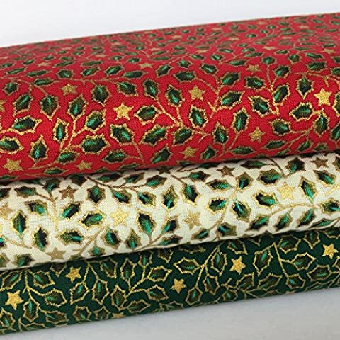 Always Knitting And Sewing Christmas Fat Quarter red & green holly 100% cotton