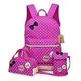 Bcony 3pcs carina punto scuola zaini bambina + ragazza borsetta + mini crossbody Borse,Rosso Rose immagine