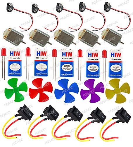 9V Battery , Mini 4Wing Fan,9V Battery Snap,Swichs,& LEDs (5Pcs Each) Science Projects Kit For DIYToy