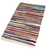 EHC Recycled Handmade Cotton Chindi Runner Floor Rug, Multi-Colour, 60 x 200 cm