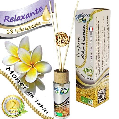 FragranceBio® - Monoï de Tahiti - baguettes - Parfum d'Ambiance BIO 55ml